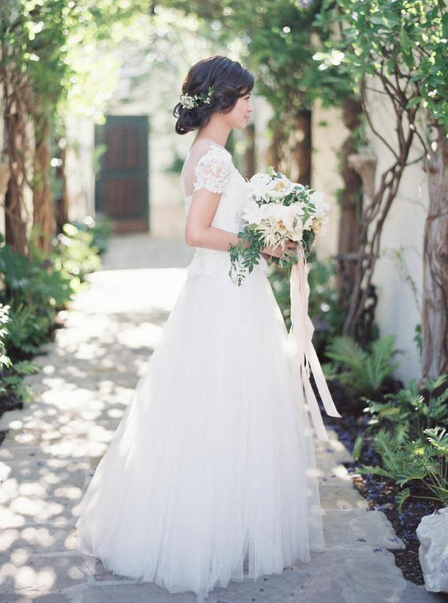 Floor Length Wedding Dress with Short Sleeves,Outdoor Wedding Dress,11649