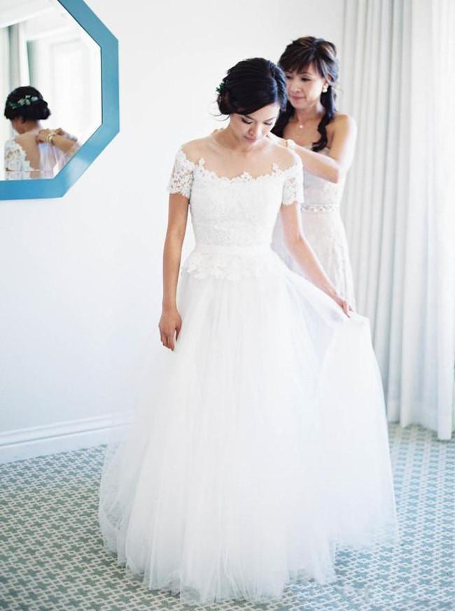 Floor Length Wedding Dress with Short Sleeves,Outdoor Wedding Dress,11649