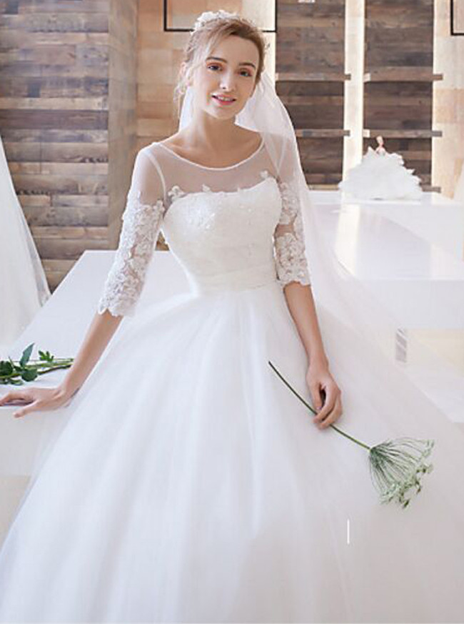 Classic Ball Gown Wedding Dress with Sleeves,Princess Bridal Gown,11650