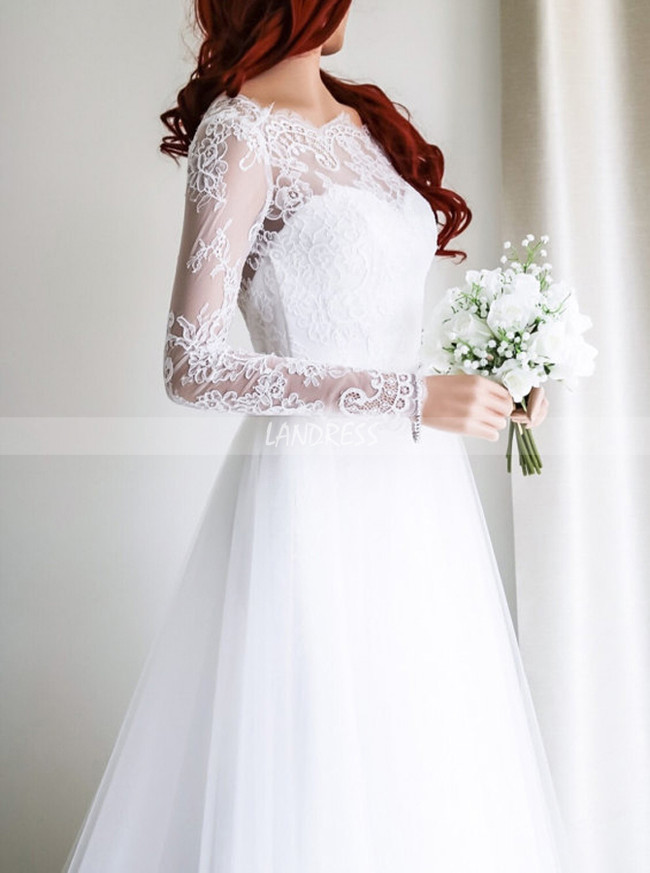 Simple Wedding Dress with Long Sleeves,Open Back Bridal Dress,11651