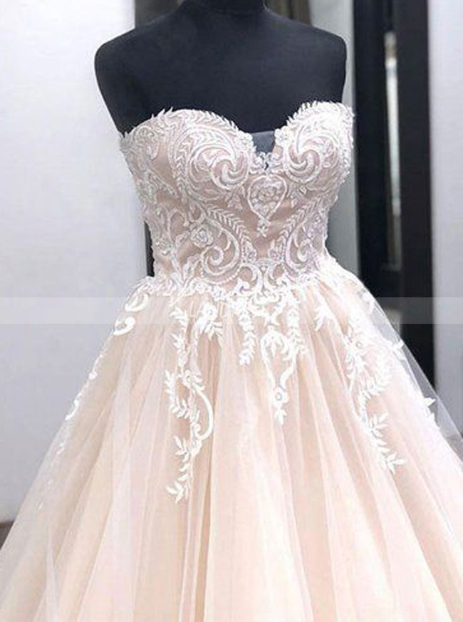 Champagne Sweetheart Bridal Gown,Tulle Wedding Dress,11653