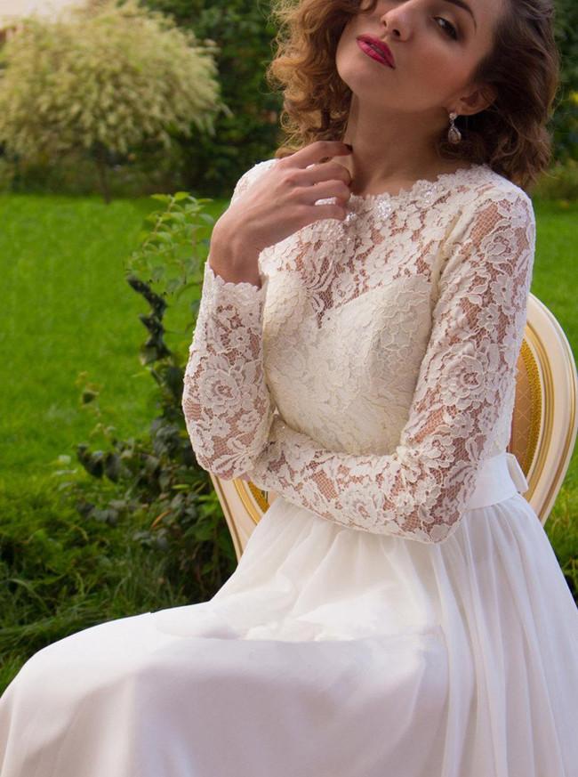 Ivory Beach Wedding Dresses with Sleeves,Chiffon Outdoor Wedding Dress,11657