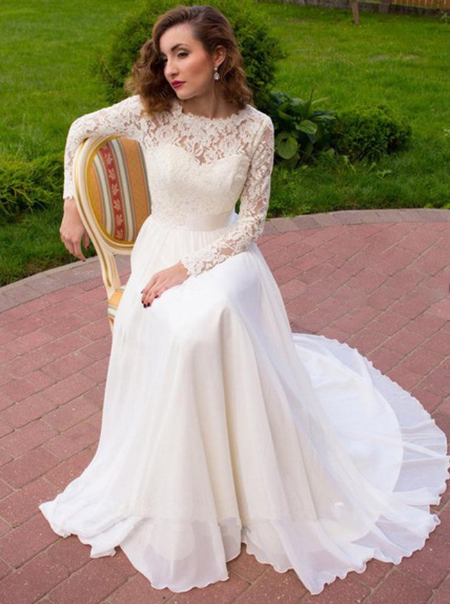 Ivory Beach Wedding Dresses with Sleeves,Chiffon Outdoor Wedding Dress,11657
