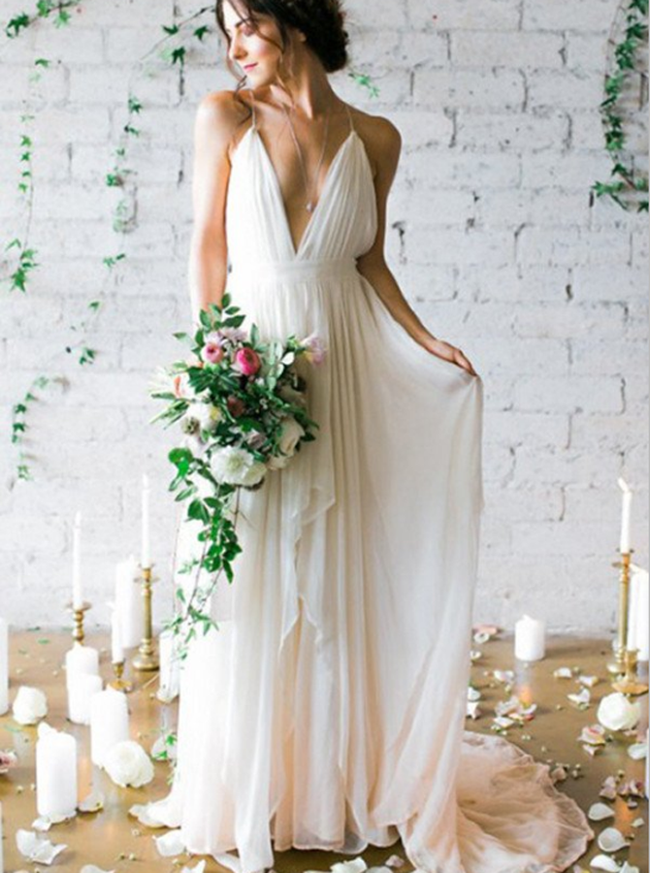 Beach Sexy Wedding Dresses,Open Back Wedding Dress,11658