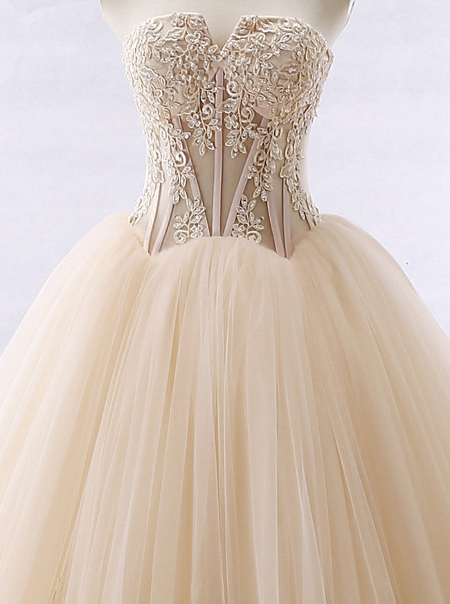Champagne Ball Gown Wedding Dresses,Tulle Strapless Wedding Gown,11661