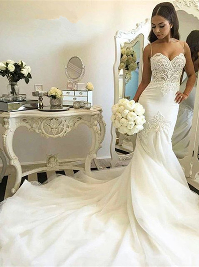 Mermaid Wedding Dresses with Straps,Sexy Bridal Dress,11662