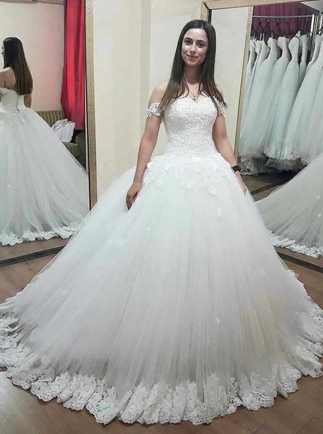 Ball Gown Wedding Dress,Off the Shoulder Bridal Gown with Appliques,11664