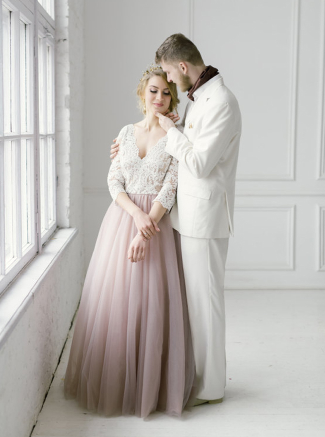 Two Tone Wedding Dresses with Sleeves,Tulle Floor Length Bridal Dress,11665