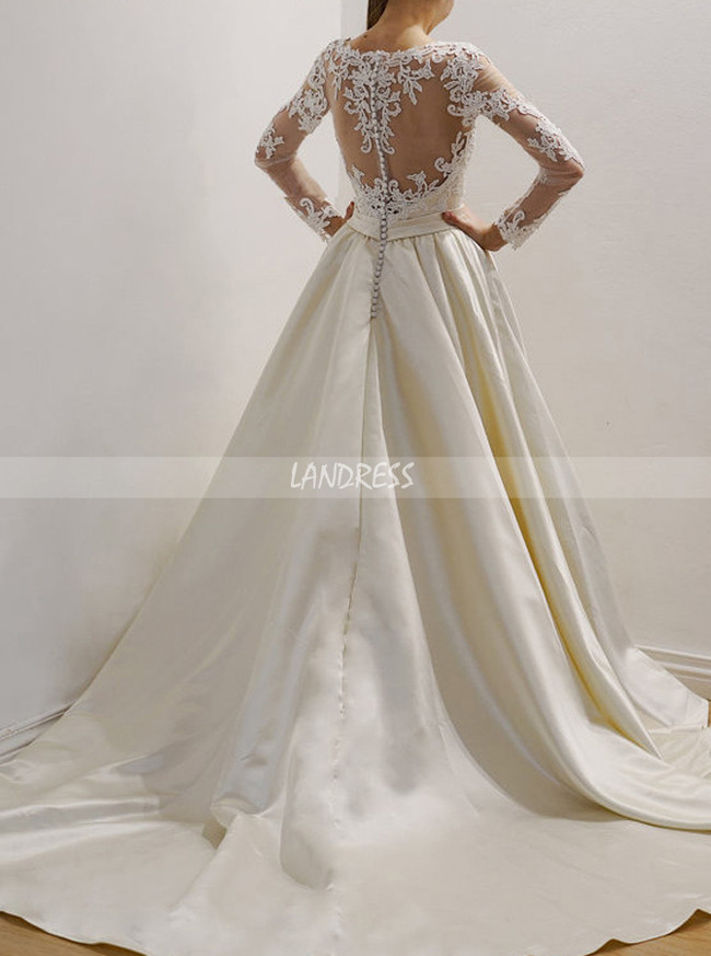 Satin Wedding Dress with Lace Top,Modest Bridal Dress,11666