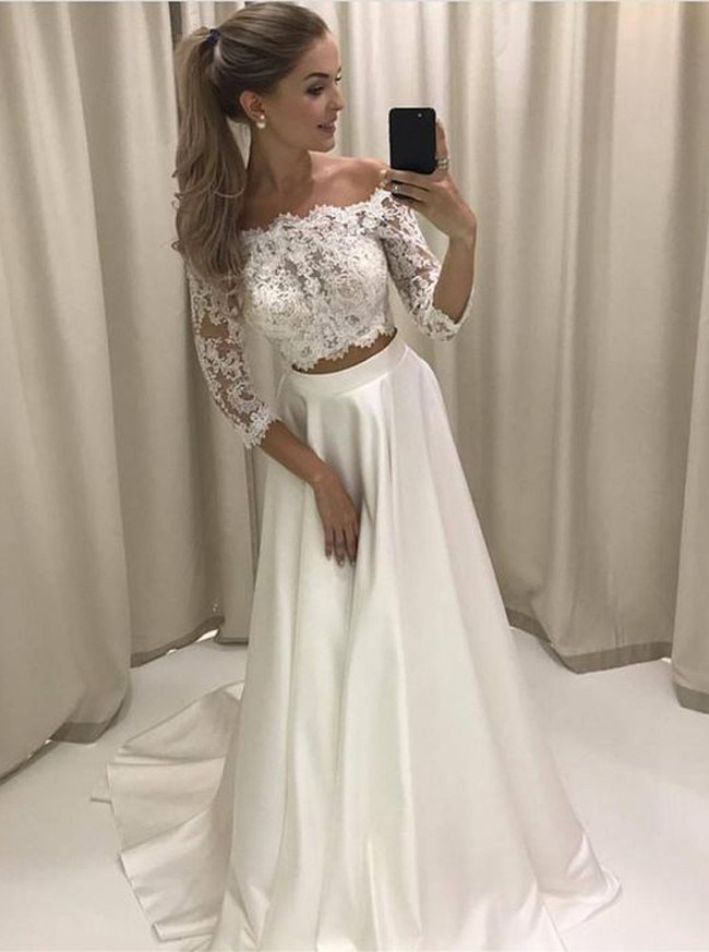 Two Piece Wedding Dresses,Off the Shoulder Bridal Dress with Sleeves,11667