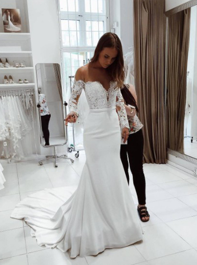 Mermaid Wedding Dresses with Sleeves,Off the Shoulder Chic Wedding Dress,11668