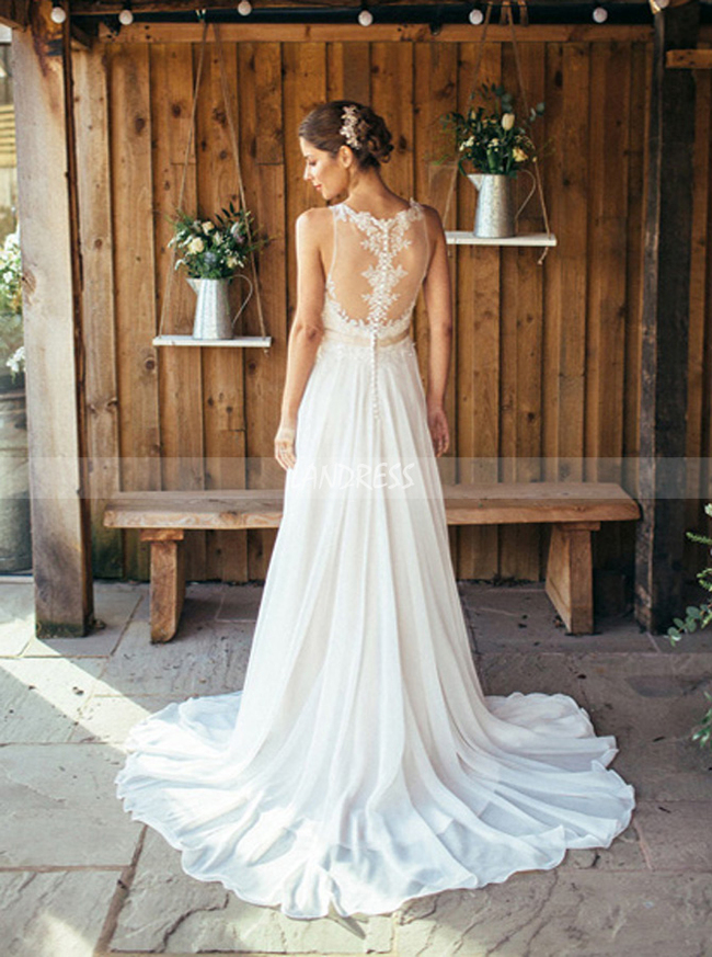 Chiffon Beach Wedding Dress,Boho Bridal Dress with Train,11669