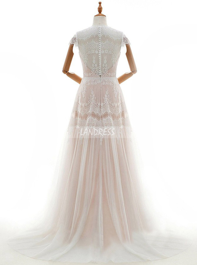 Boho Wedding Dresses,Lace Wedding Dress with Cap Sleeves,11670