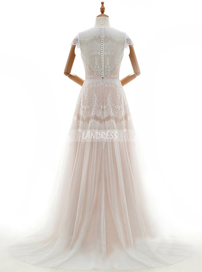 Boho Wedding Dresses,Lace Wedding Dress with Cap Sleeves,11670