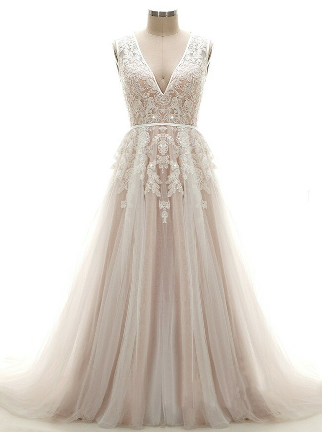Champagne V-neck Wedding Dresses,Floral Bridal Gown,11671