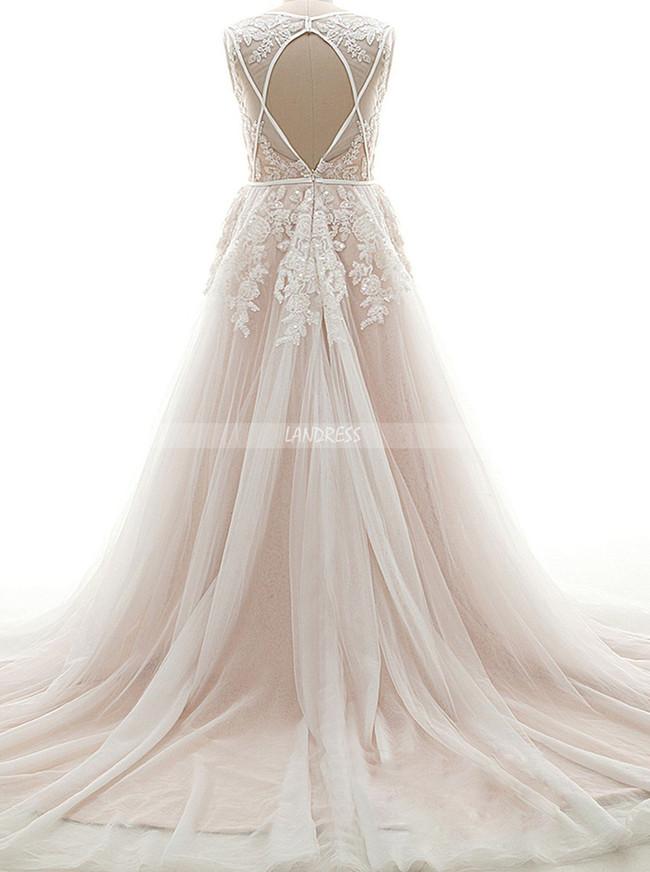 Champagne V-neck Wedding Dresses,Floral Bridal Gown,11671