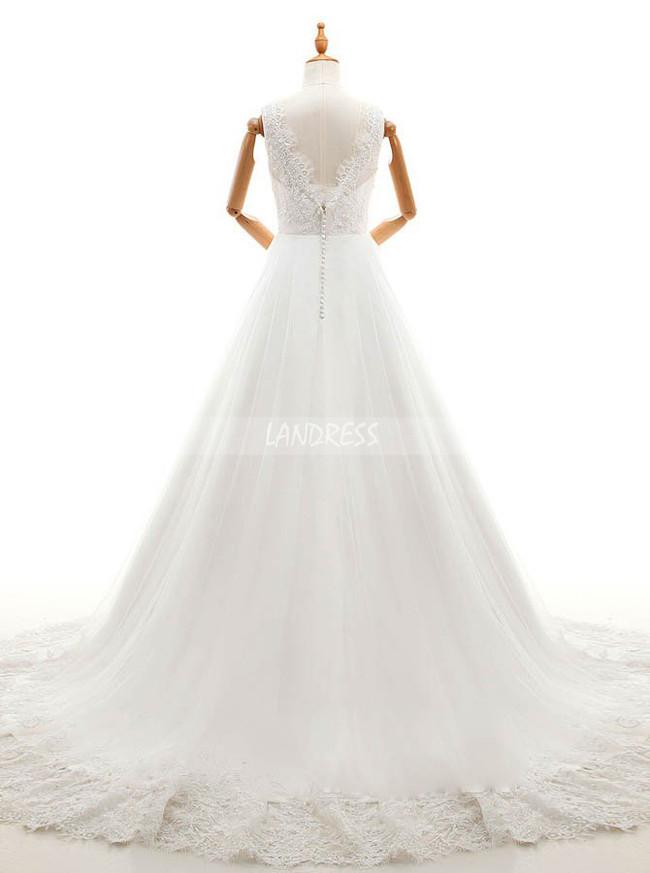 Princess Wedding Dress,V-neck Bridal Dress,11673