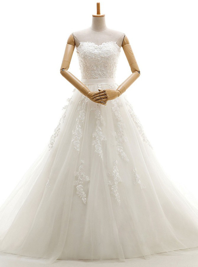 Ivory Wedding Dresses Corset,Strapless Bridal Gown,11674