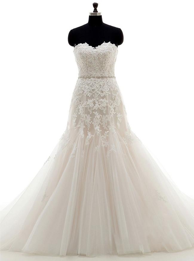 Princess Mermaid Wedding Dresses,Tulle Lace Wedding Dress,11676