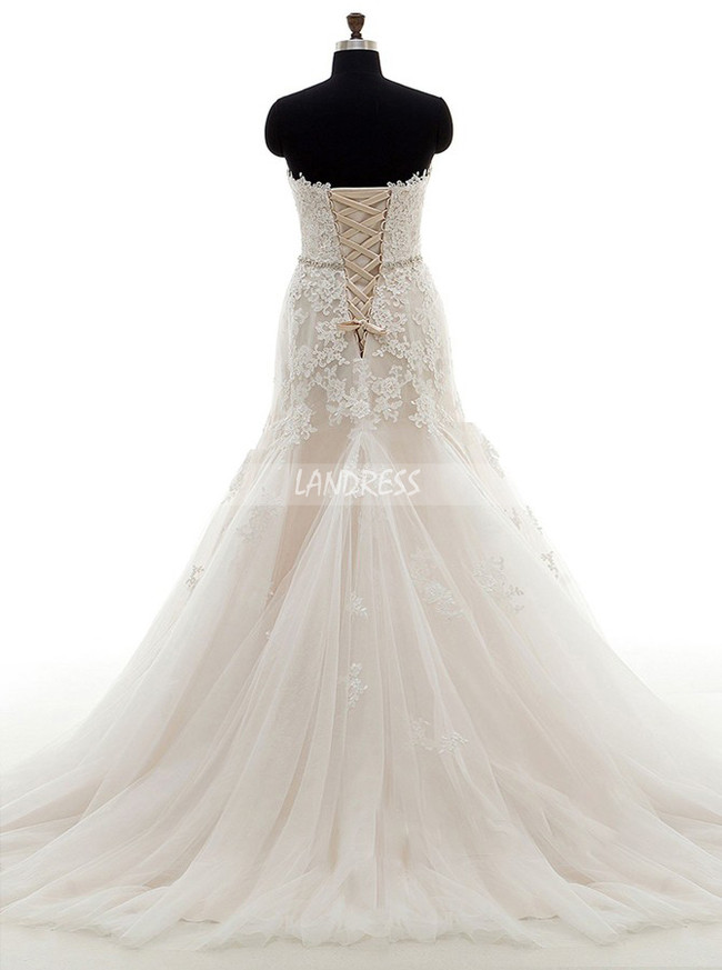 Princess Mermaid Wedding Dresses,Tulle Lace Wedding Dress,11676