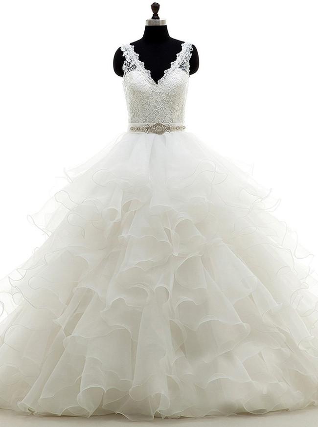 Ruffled Ball Gown Wedding Dress,Princess Wedding Gown,11677