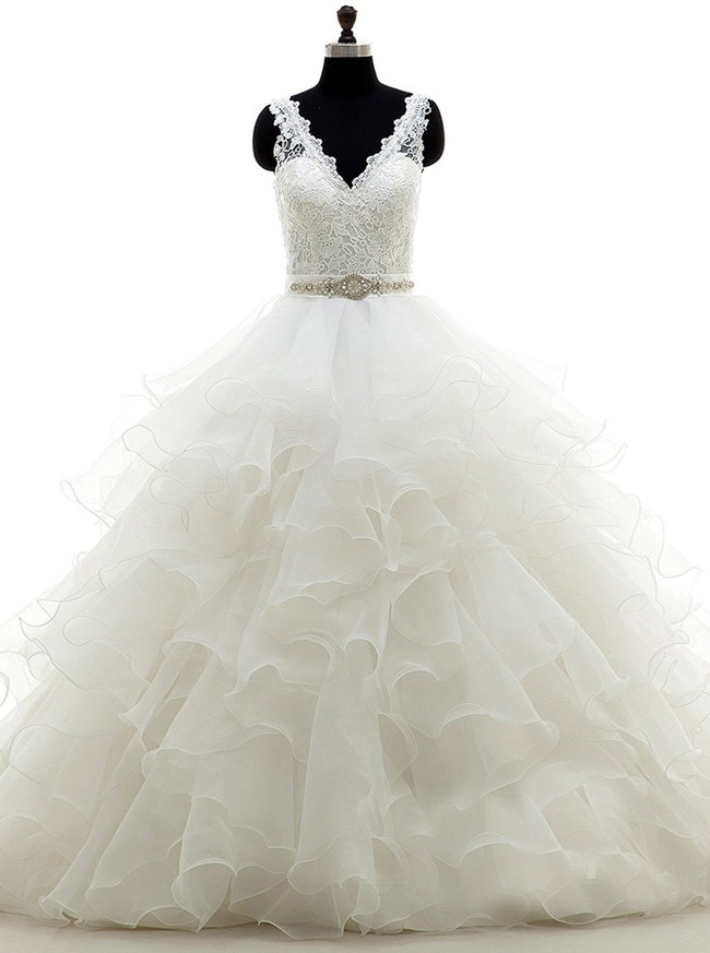 Ruffled Ball Gown Wedding Dress,Princess Wedding Gown,11677