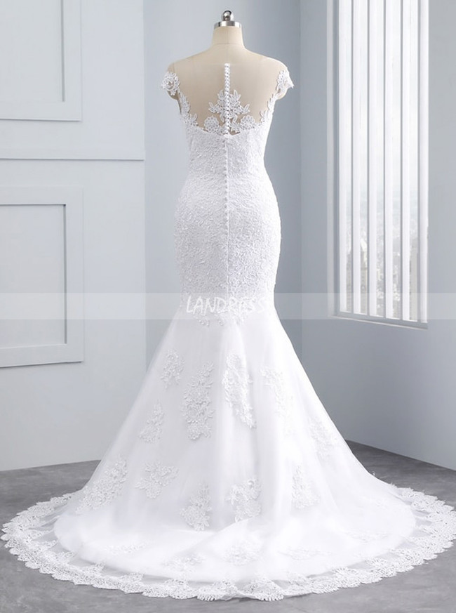 Mermaid Wedding Dresses,Bridal Dress with Cap Sleeves,11680