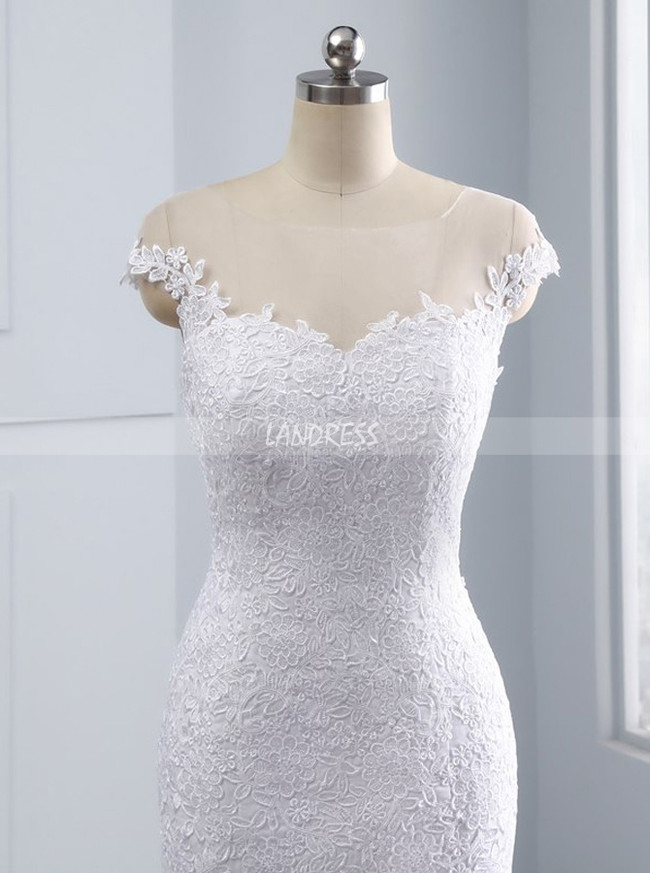 Mermaid Wedding Dresses,Bridal Dress with Cap Sleeves,11680