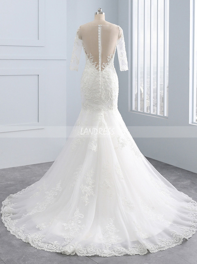 Mermaid Wedding Dresses with 3/4 Length Sleeves,Lace Wedding Dress,11681