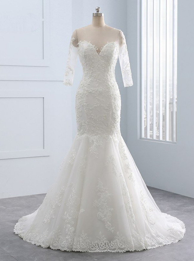 Mermaid Wedding Dresses with 3/4 Length Sleeves,Lace Wedding Dress,11681