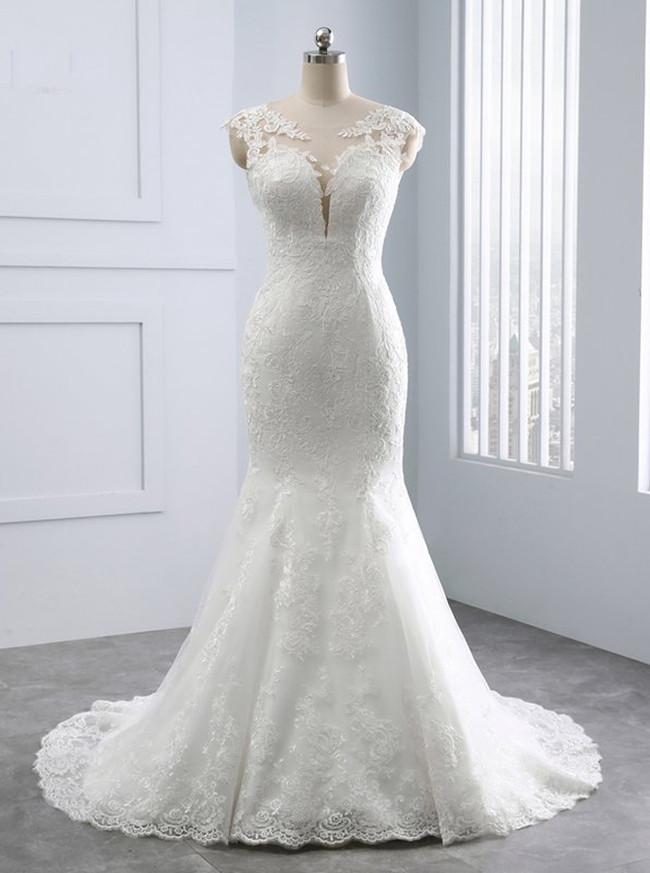 Ivory Mermaid Wedding Dresses,Lace Vintage Wedding Dress,11682
