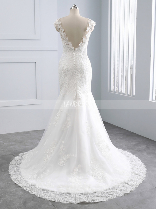 Ivory Mermaid Wedding Dresses,Lace Vintage Wedding Dress,11682