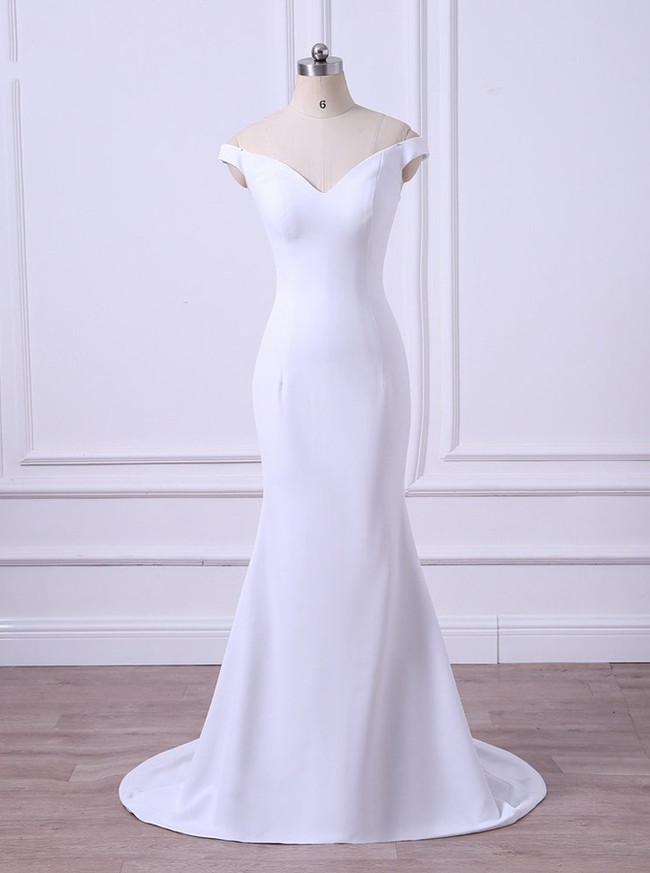 Modest Wedding Dresses,Off the Shoulder Bridesmaid Dresses,11683