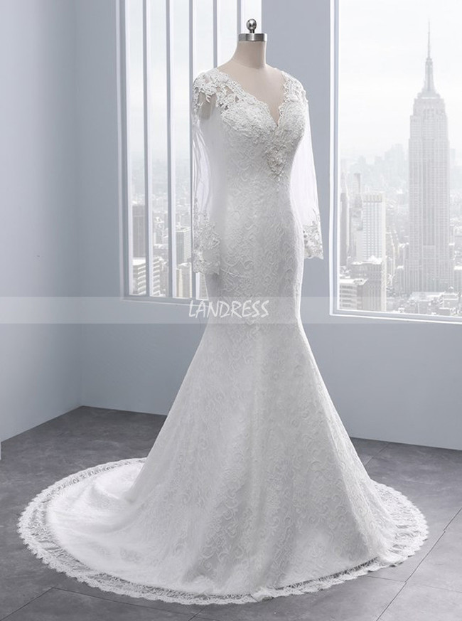 Vintage Wedding Dresses,Lace Wedding Dress with Sleeves,11685