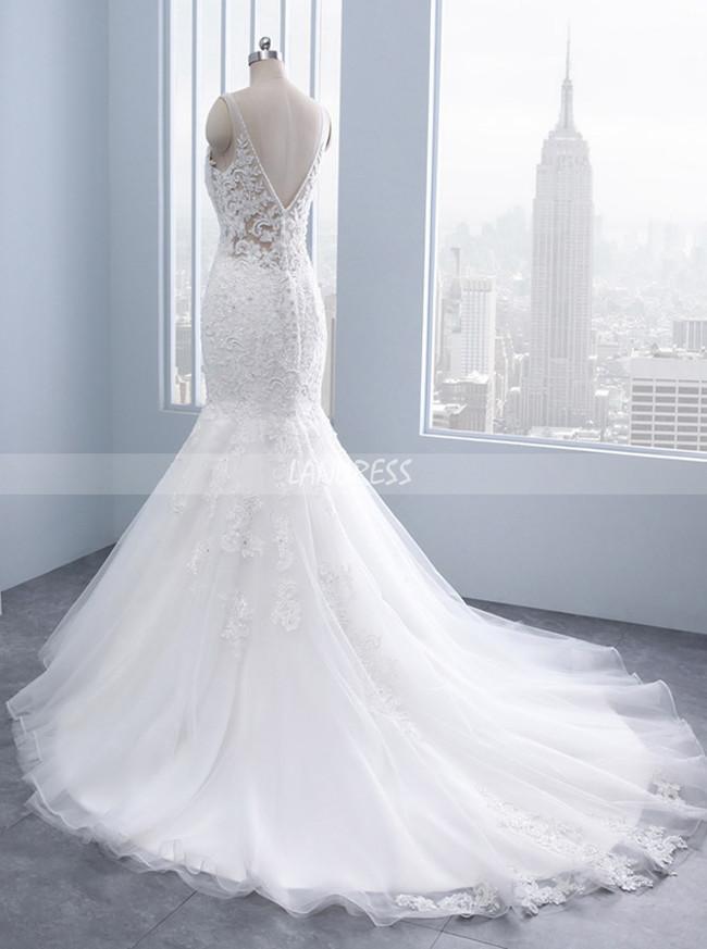 Mermaid Wedding Dress,Modest Wedding Dress with Open Back,11686