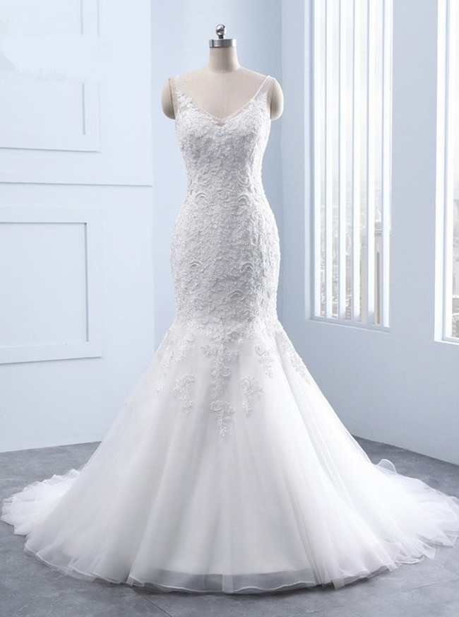 Mermaid Wedding Dress,Modest Wedding Dress with Open Back,11686