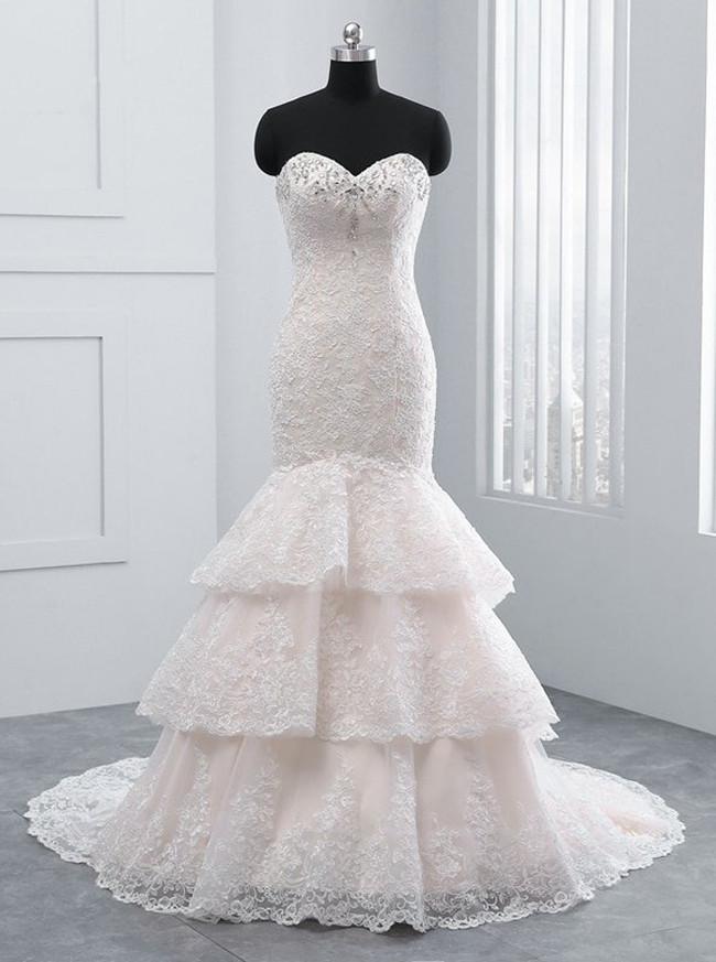 Champagne Mermaid Wedding Dresses,Lace Layered Wedding Dress,11687