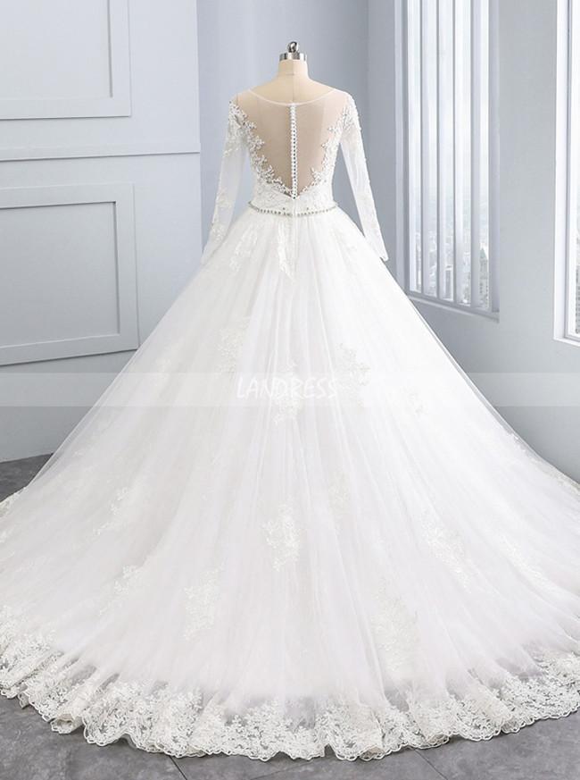 Luxury Wedding Dress with Long Sleeves,A-line Wedding Dress,11689