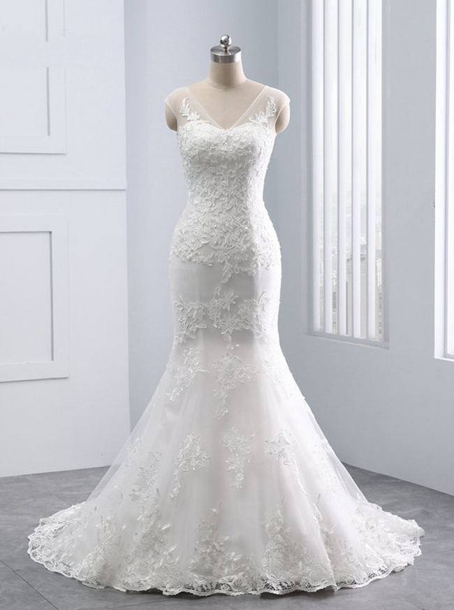 Mermaid Wedding Dresses,Lace Bridal Dress,11690