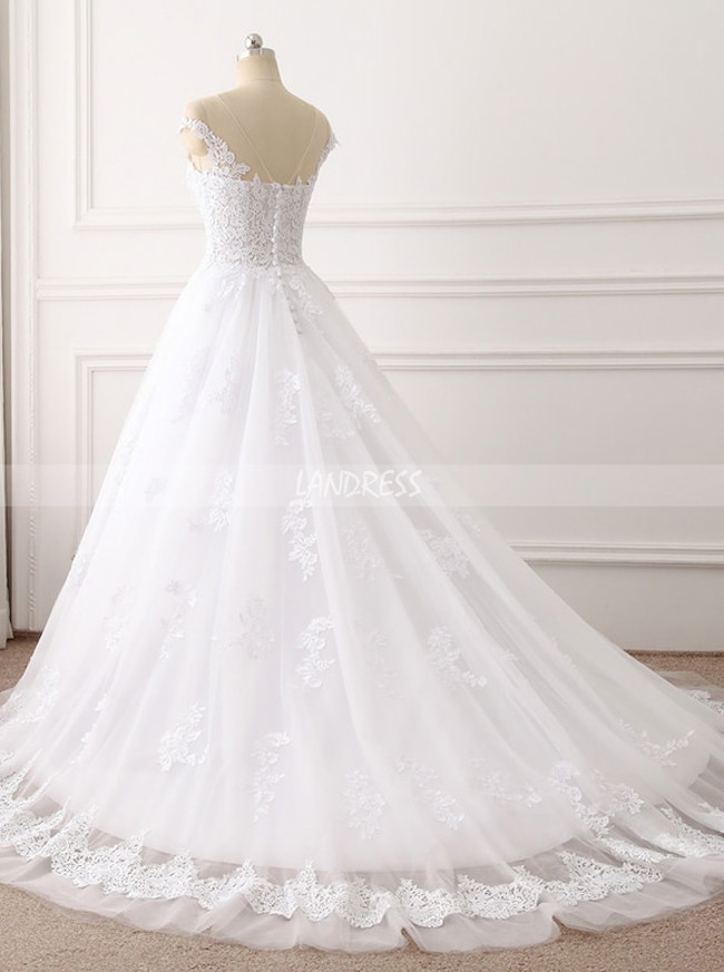A-line Wedding Dress with Cap Sleeves,Lace Bridal Dress,11692