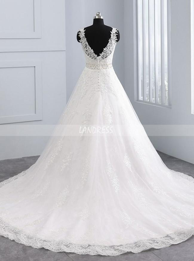 A-line Wedding Dresses,Lace Bridal Dress,11693