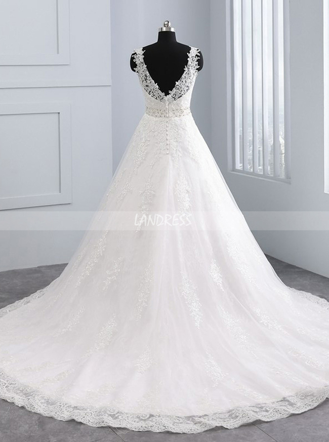 A-line Wedding Dresses,Lace Bridal Dress,11693