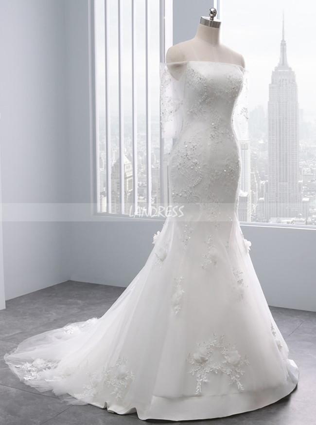 Ivory Wedding Dresses with 3/4 Length Sleeves,Mermaid Lace Wedding Dress,11695