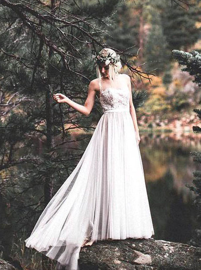 Outdoor Wedding Dresses,Floor Length Tulle Bridal Dress,11696