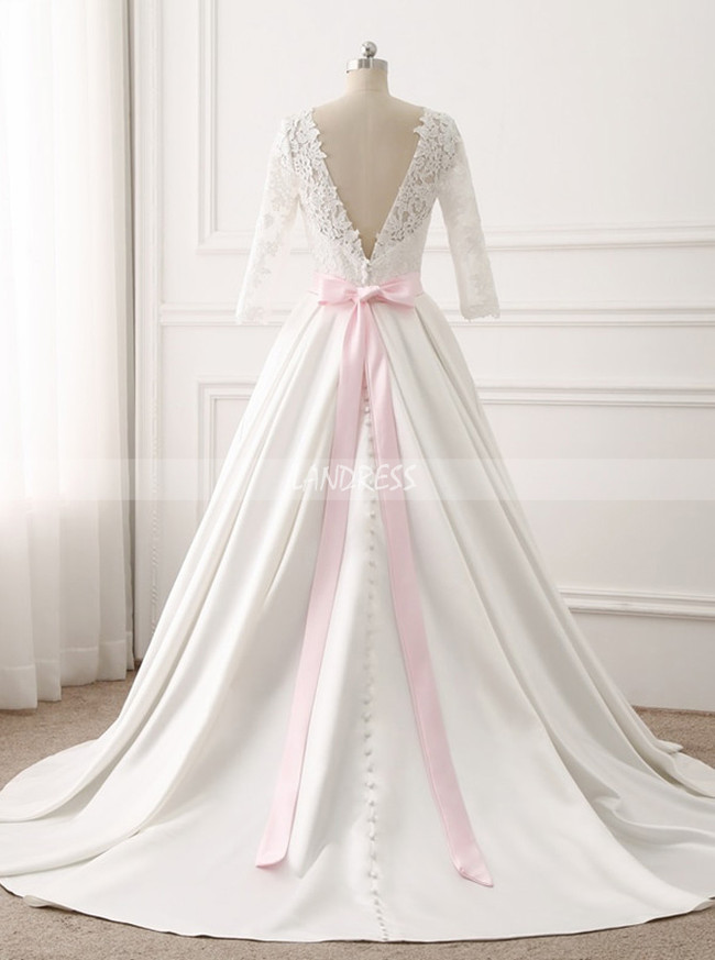 Satin Wedding Dress with Sash,Bridal Dress with Sleeves,11697