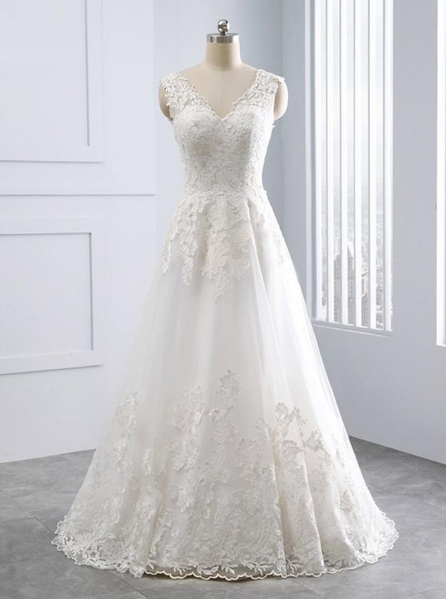 Ivory A-line Wedding Dress,Floor Length Wedding Dress,11698