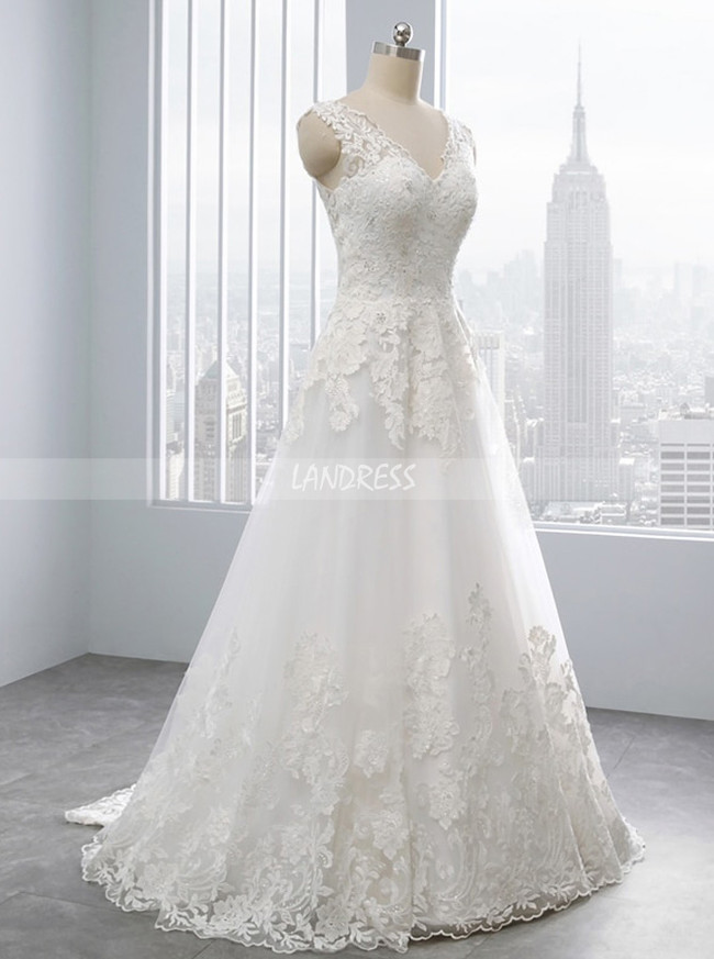 Ivory A-line Wedding Dress,Floor Length Wedding Dress,11698