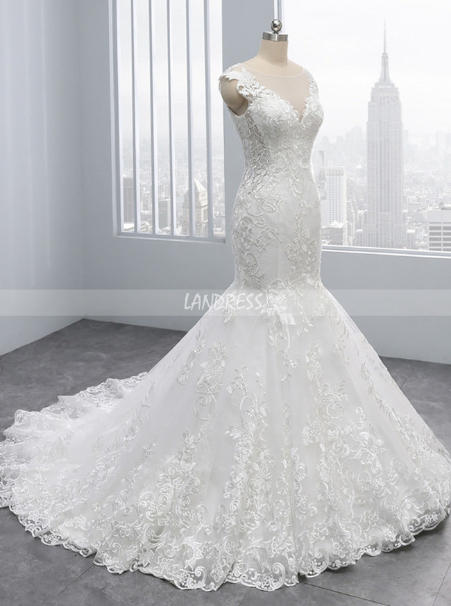 Lace Mermaid Wedding Dresses,Bridal Dress with Chapel Train,11699