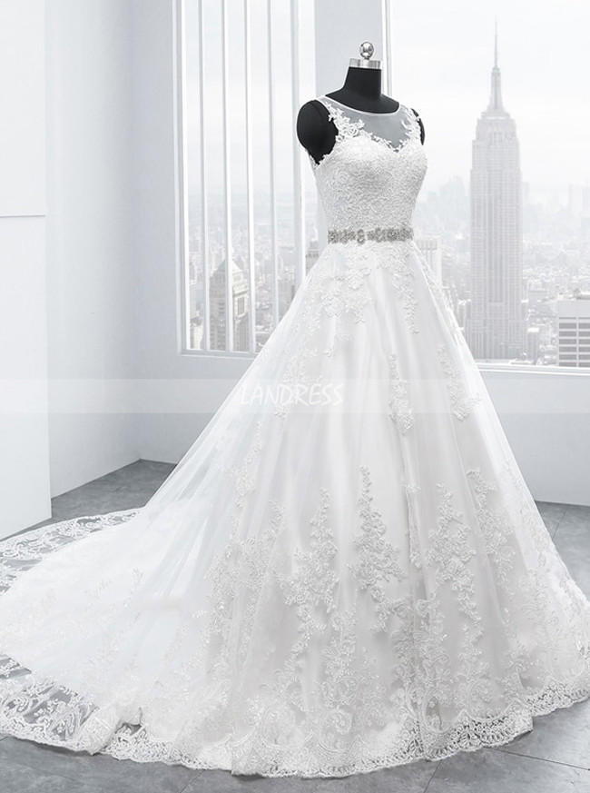Lace Wedding Dress with Cutout Back,A-line Bridal Gown,11701