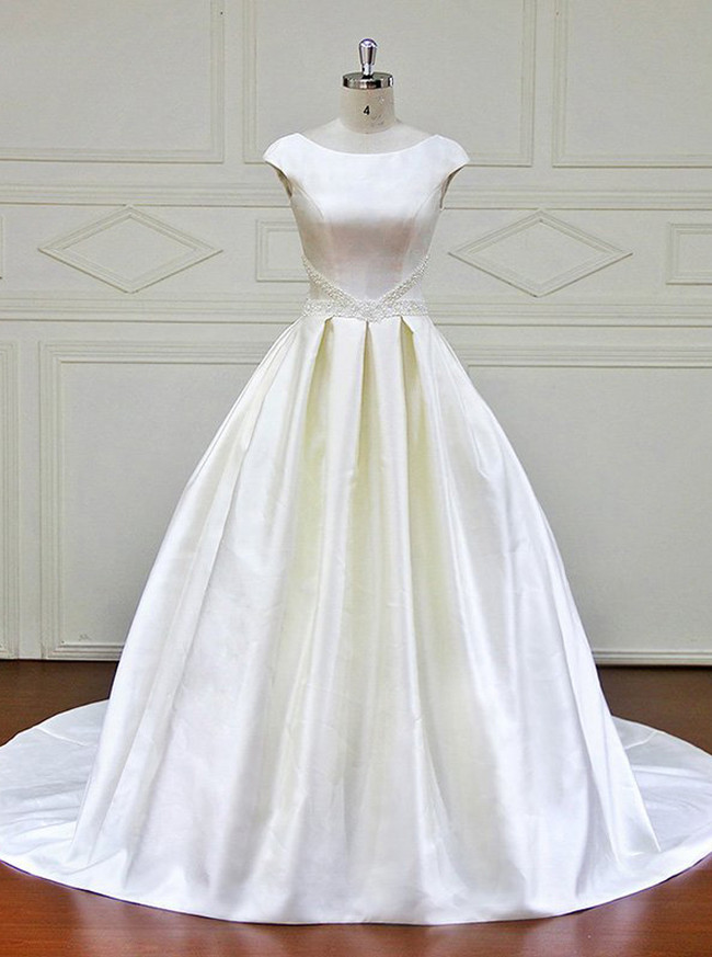 Ivory Wedding Gown,Open Back Satin Wedding Dress,11704